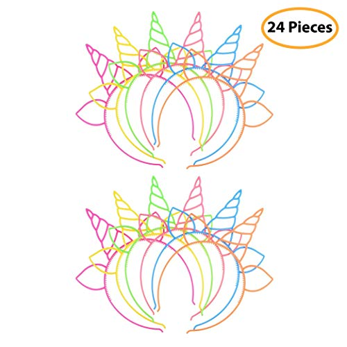 7 Colors Kids 24 Pack Plastic Unicorn Headband Unicorn Party Supply Party Favor Girl Hair -