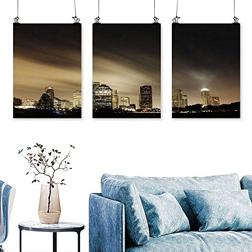 (SCOCICI1588 3 Panels Triptych metropolit Skyline at Night Houston Texas for Wall Decor Home Decoration No Frame 24 INCH X 35 INCH X)