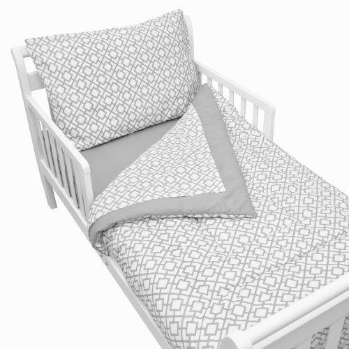 American Baby Company 100% Cotton Percale 4-Piece Toddler Bedding Set, Gray Lattice, for Boys and Girls ()