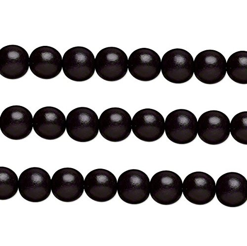Wood Round Beads Black 12mm 16 Inch Strand
