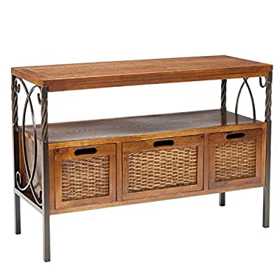 Safavieh American Home Collection Crowley Antique Dark Walnut and Pewter Three Drawer Console Table