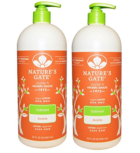 Nature's Gate Oatmeal Lotion (Pack of 2) With Jojoba Seed Oil, Shea Butter and Sweet Almond Oil, 18 fl. oz. Each Echinacea Body Lotion