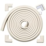 Roving Cove® 16.2 ft (15ft Edge + 4 Corners) 'Safe Edge® and Corner Cushion' - Value Pack - OYSTER; Premium Childproofing Edge Corner Guard - PRE-TAPED CORNERS; Child Safety Home Safety Furniture Bumper and Table Edge Corner Protectors