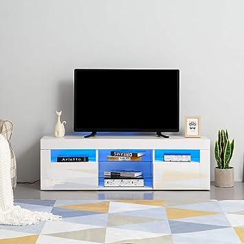 OLFFF - Mueble de TV LED de 135 cm de Alto Brillo, Color Blanco: Amazon.es: Electrónica