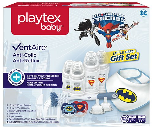 Playtex Baby VentAire Little Hero Gift Set for Boys, Includes Anti-Colic Feeding Essentials to Meet Your Baby's Growing Needs]()