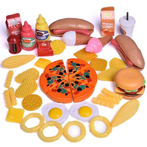 Hamburger Toy (Play Food Set for Kids Kitchen Food Toys Fun Fast Doll Food Assortment Plastic Pretend Food Playset for Children Girls Boys Kids Toddlers Educational Early Age Basic Skills Development 49pcs)