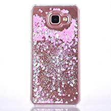 Samsung Galaxy A5 2016 Glitter Liquid Case, GreenDimension Transparent 3D Glitter Quicksand Bling Sparkle Pink Love Hearts Dynamic Floating Flowing Hard PC Crysal Clear Cover For Samsung Galaxy A510