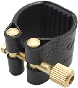 Andoer Alto Saxophone Ligature Fastener Compact Durable Artificial Leather for Alto Sax Saxophone Rubber Mouthpiece