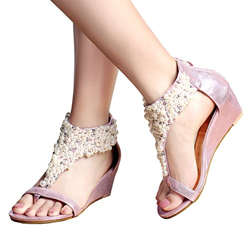 Across Pink Peep Strappy Sandals Women's Ankle Getmorebeauty Pearls Toes Zipped 7cSTvqnHAW