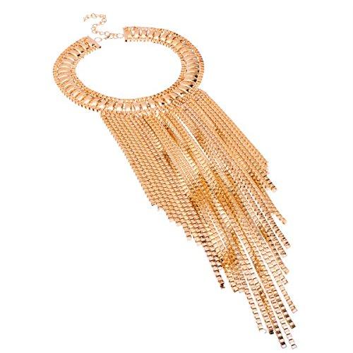 Jerollin Women Fashion Gold Silver Tone Chain Tassel Cluster Pendant Bib Statement Attractive Necklace