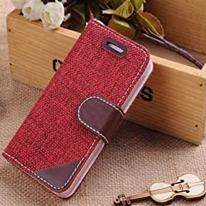 Rural Woven Fabric Magnetic Flip Leather Case For iPhone 5C --- Color:Pink