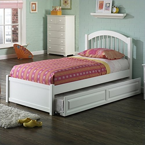 Flat Panel Footboard (Atlantic Furniture Windsor Platform Bed with Flat Panel Footboard in White - Twin)