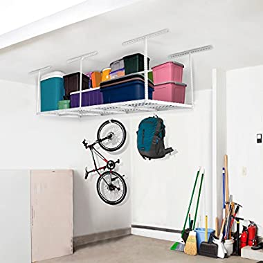 FLEXIMOUNTS 3x8 Heavy Duty Overhead Garage Adjustable Ceiling Storage Rack, 96  Length x 36  Width x 40  Height, White