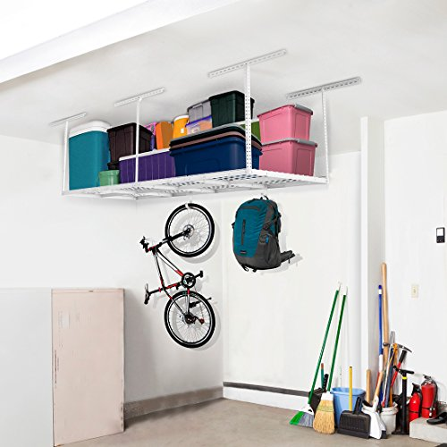 FLEXIMOUNTS 3×8 Overhead Garage Storage Rack Adjustable Ceiling Storage Rack Heavy Duty, 96″ Length x 36″ Width x 40″ Height, White Review