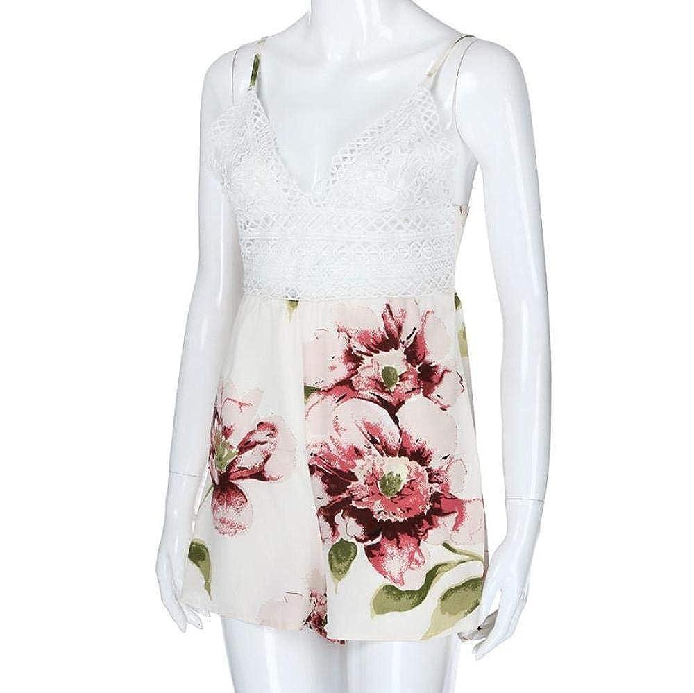 BuyBnK V-Neck Floral Print Short Romper