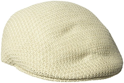 Sean John Men's Crochet Blocked Ivy Flat Cap, Knit Fabric, Cream L/XL