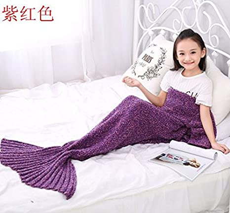 Regalo de cumpleaños para todas las temporadas Manta saco de dormir sofá mantas niños tejer mantas cola de pez ...