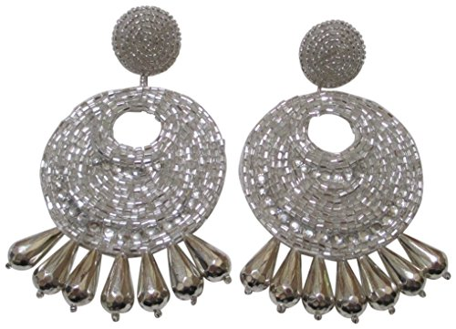 Kenneth Jay Lane Silvertone Gypsy Beaded Drop Pierced Earrings ()