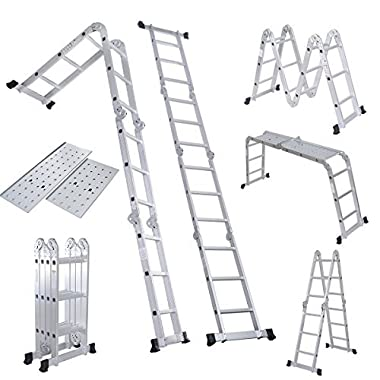Giantex 12.5ft En131 Multi Purpose Aluminum Folding Step Ladder Foldable Extension