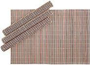 Jogo Americano Retangular em Bambu Listrado 04 Lugares 30 x 45 cm Rústico Mesa Posta Cozinha