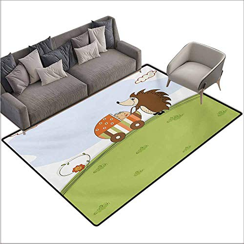Bedroom Floor Rug Funny Baby Shower Theme A Hedgehog Pushing a Stroller with Baby Illustration Anti-Fading W78 xL106 Baby Blue Pistachio Green