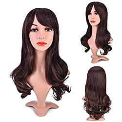 MelodySusie Dark Brown Curly Wig – Charming Long Curly Wig with Heat Resistant Fiber for Women Daily Use (Dark Brown)