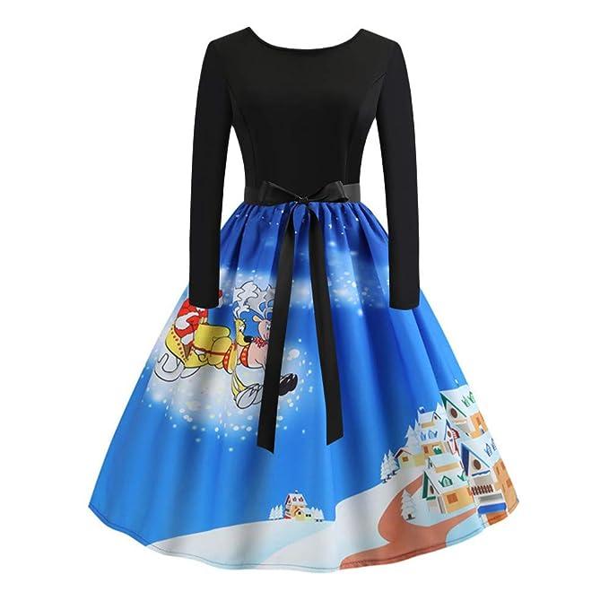 Cebbay Vestir Faldas Camisas Sudadera Abrigos Mujeres de Navidad Vestido de Fiesta de Las señoras Vintage Navidad Swing Vestido de Encaje: Amazon.es: Ropa y ...