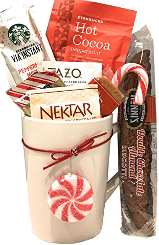 Christmas Gifts - Holiday Gifts - Coffee Gift Sets - Hot Tea Gift Sets - Cocoa Gift Sets (Coffee-Tea-Cocoa ~Peppermint)