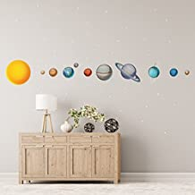 Solar System Wall Decals // Large Planets Wall Stickers // Planet Decals // Realistic Solar System Bedroom - WDSET10019-50