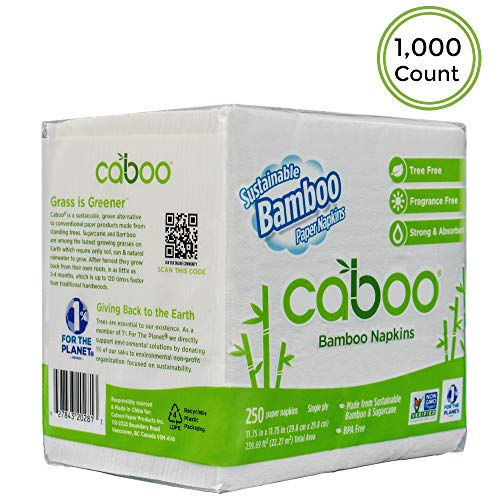 (Caboo Tree Free Bamboo Paper Napkins, Eco Friendly Disposable Dinner Napkins - 4 Packs of 250, Total of 1000 Napkins)