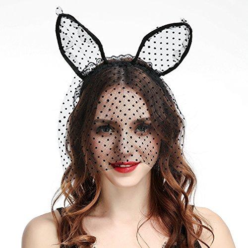 Ochee Sexy Bunny Ears Headband, Costume Party Mask, Masquerade, Halloween Party Headband (Short Bunny -
