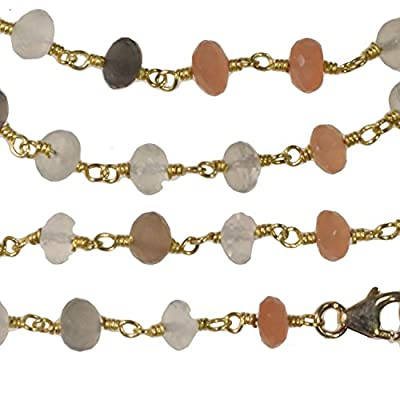 Moonstone Faceted Necklace Gold-tone Links 36 Inch