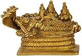 Purpledip Rare Collection Brass Idol Lord Vishnu Trimurti With Shiva & Brahma: AnantashayiAnandShayan Sleeping Vishnu-Lakshmi Unique Brass Statue (11032)
