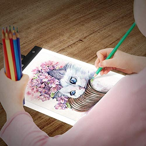 A4 Ultra-Thin Portable Diamond Painting Light Board Pad Kit 135 PCS, Eyesight-Protected 3 Level Brightness Adjustment for Drawing, Sketching, Animation, 5D Diamond Painting