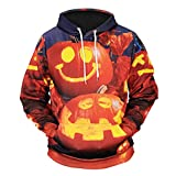 Mens Casual Scary Hooded Jumper Halloween Pumpkin 3D Print Pullover Party Long Sleeve Hoodie Top Blouse (XL, Orange)