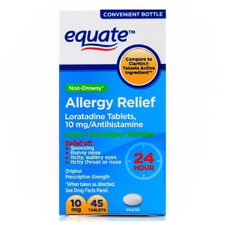 Equate Non-Drowsy 24-Hour Allergy Relief, Loratadine 10mg, 4