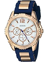 GUESS Womens Stainless Steel Silicone Casual Watch, Color: Rose Gold-Tone/Navy Blue (Model: U0325L8 )