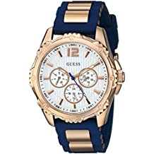 GUESS Women's Quartz Stainless Steel and Silicone Casual Watch, Color:Blue (Model: U0325L8)