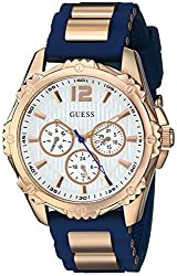 Guess Women's Stainless Steel Silicone Casual Watch, Color: Rose Gold-tonenavy Blue (Model: U0325l8)