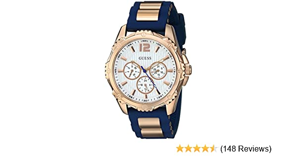 Amazon.com: GUESS Womens Stainless Steel Silicone Casual Watch, Color: Rose Gold-Tone/Navy Blue (Model: U0325L8): Guess: Watches