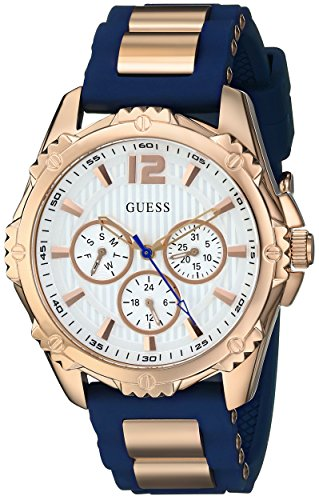 GUESS Women's Stainless Steel Silicone Casual Watch, Color: Rose Gold-Tone/Navy Blue (Model: U0325L8 )