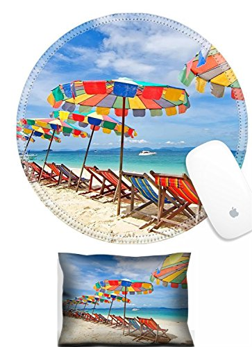 Luxlady Mouse Wrist Rest and Round Mousepad Set, 2pc IMAGE: 25601597 Beach chairs and colorful umbrella on the beach in sunny day Phuket (Best Luxlady Mousepad Beach Chairs)