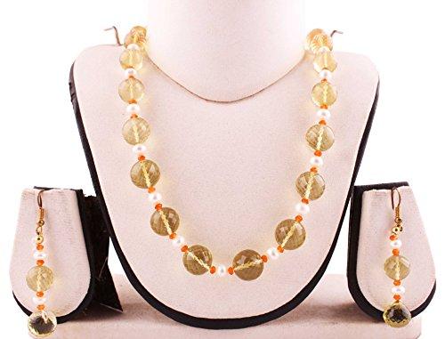 (Neerupam Collection 235 Carat Lemon Quartz Round shape Faceted Beads s Hook Necklace, Earring for)