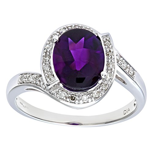 Naava 9 ct White Gold Women's Diamond and Amethyst Ring