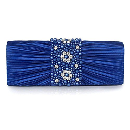 Purse Party Satin Pearl Formal Designer Evening Wedding Women Purse Stone Ladies' Pleated Bags Blue for Evening Handbag Clutch vCZntqwtE