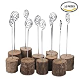 ECHI Wedding Table Card Holder, Real Wooden Base Photo Holder - Suit for Photo,Picture,Memo,Card,Business Card Clip (10PCS)