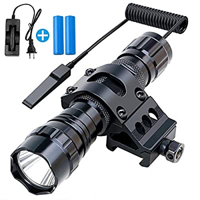 Fyland Tactical Flashlight, 1200 Lumens LED Flashlight with Picatinny Rails Mount Included Rechargeable Batteries Pressure Switch, Waterproof Small Flashlight for Outdoor Hiking Hunting Shooting