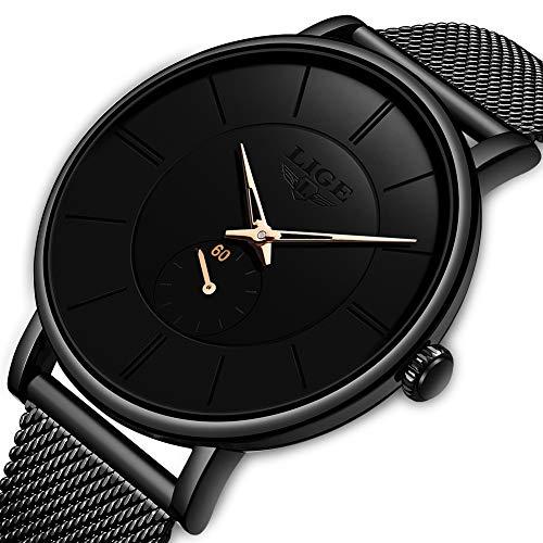 Watch for Men LIGE Sport Casual Minimalist Analog Quartz Wrist Watch Waterproof Black Stainless Steel Mesh Strap
