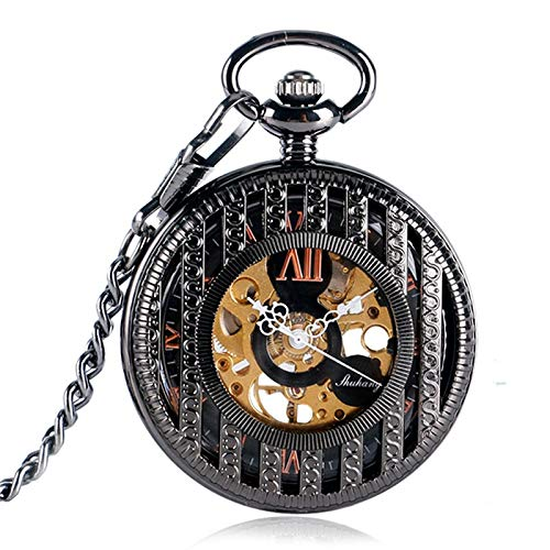 Vintage Silver Transparent Roman Numbers Skeleton Gear Pocket Watch |Mechanical Hand Wind Clock Xmas Gift (Mechanical White Gold Pocket Watch)