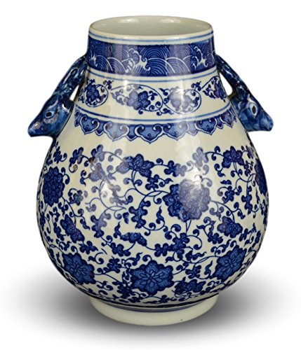 - Classic Blue and White Floral Porcelain Vase, Double Deer Head Handles China Ming Style 10